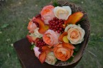 Букет с розами ОранжРомантика и каллами